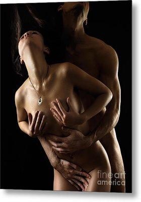 Romantic Nude Couple Making Love Metal Print