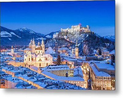 Salzburg In Winter Metal Print by JR Photography