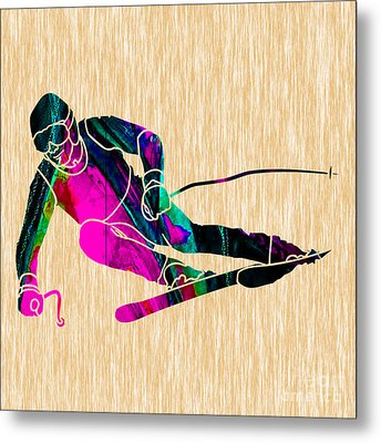 Skier Painting Metal Print by Marvin Blaine