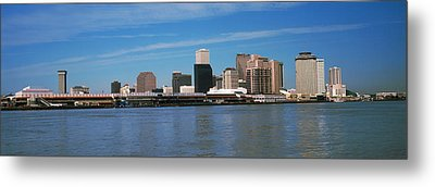 Skyscrapers At The Waterfront, River Metal Print by Panoramic Images