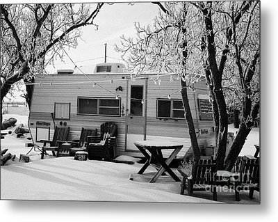 small trailer mobile home covered in snow in rural village of Forget Saskatchewan Canada Metal Print by Joe Fox