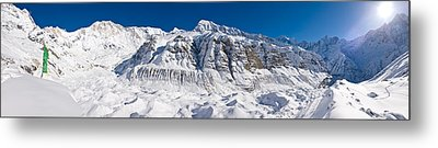 Snowcapped Mountain, Annapurna Base Metal Print by Panoramic Images