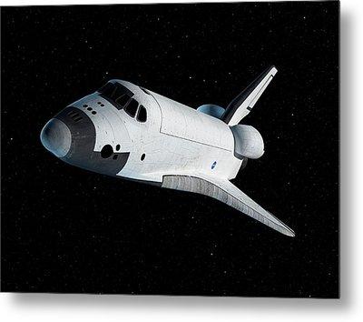 Space Shuttle In Space Metal Print by Sciepro
