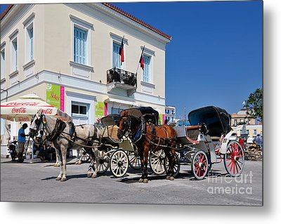 Horse Carriages In Spetses Town Metal Print by George Atsametakis