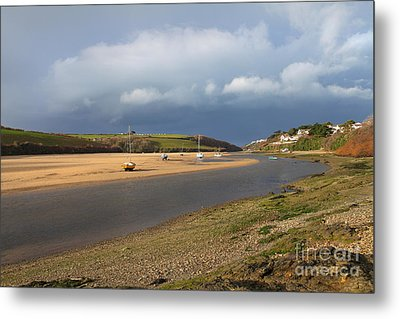 Metal Print featuring the photograph Storm Approaches The Gannel Estuary Newquay Cornwall by Nicholas Burningham