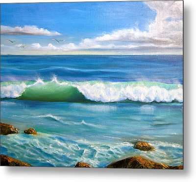 Sunny Seascape Metal Print by Heather Matthews
