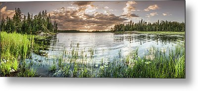 Sunset Over A Pond  Thunder Bay Metal Print by Susan Dykstra