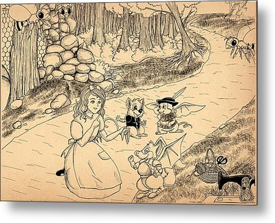 Metal Print featuring the drawing Tammy  Meets Cedric The Mongoose by Reynold Jay