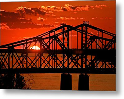 The Mississippi River Bridge At Natchez At Sunset.  Metal Print by Jim Albritton