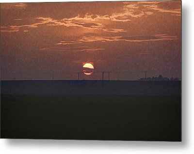 The Setting Sun In The Distance With Clouds Metal Print