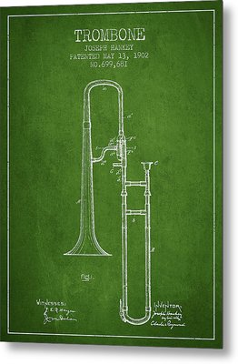 Trombone Patent From 1902 - Green Metal Print