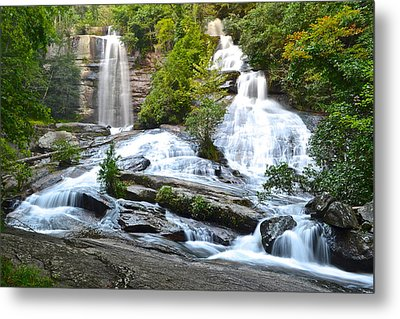Twin Falls Metal Print by Frozen in Time Fine Art Photography