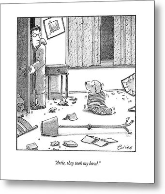 Artie, They Took My Bowl Metal Print by Harry Bliss