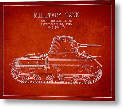 Vintage Military Tank Patent From 1945 Metal Print