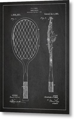 Vintage Tennnis Racket Patent Drawing From 1921 Metal Print by Aged Pixel