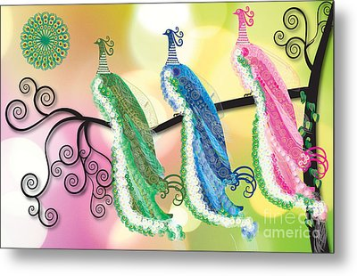 Visionary Peacocks Metal Print by Kim Prowse