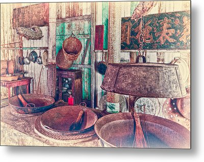 Metal Print featuring the photograph 3-wok Kitchen by Jim Thompson