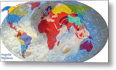 World Map And Barack Obama Stars Metal Print by Augusta Stylianou
