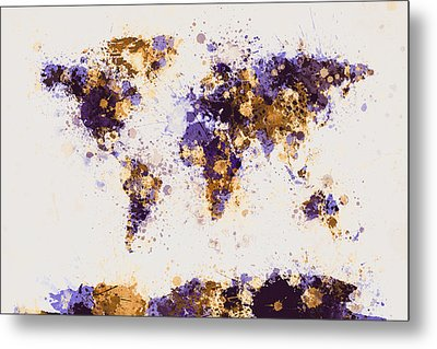 World Map Paint Splashes Metal Print