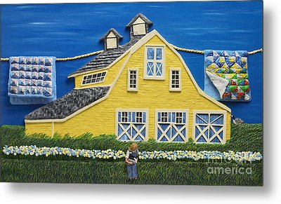 Metal Print featuring the sculpture Yellow Barn by Anne Klar