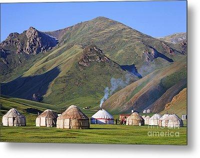 Yurts In The Tash Rabat Valley Of Kyrgyzstan  Metal Print