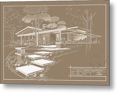301 Cypress Drive - Sepia Metal Print