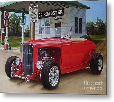 32 Ford At Filling Station Metal Print by Paul Kuras