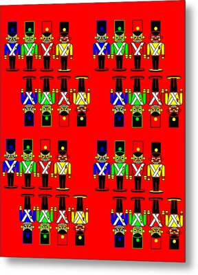 32 Nutcracker Soldiers On Red Metal Print by Asbjorn Lonvig
