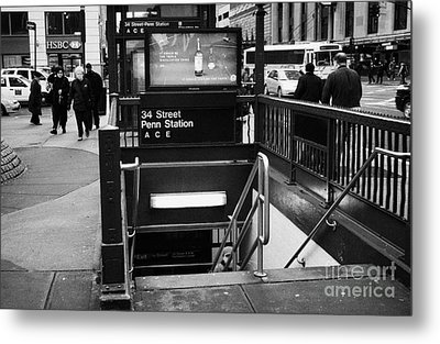 34th Street Entrance To Penn Station Subway New York City Metal Print