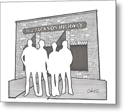 Metal Print featuring the drawing 3614 Jackson Highway by Calvin Durham