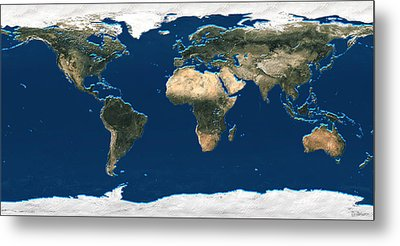 3d Earth At A Glance - Satellite Image Of The World Metal Print