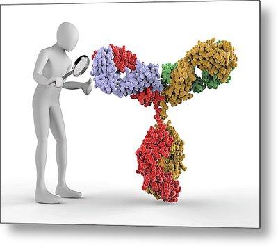 3d Human Inspecting An Antibody Molecule Metal Print