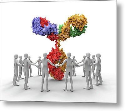 3d Men Around An Antibody Molecule Metal Print