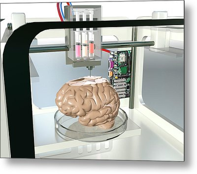 3d Printed Brain Metal Print