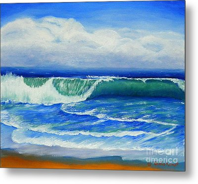Metal Print featuring the painting A Wave To Catch by Shelia Kempf