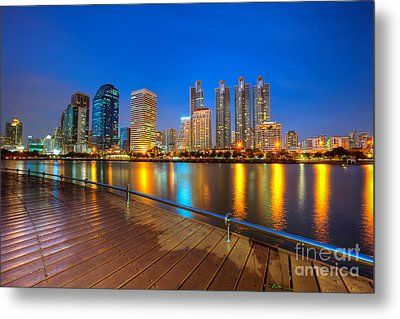 Bangkok City Night Skyline Metal Print by Fototrav Print
