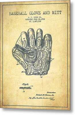 Baseball Glove Patent Drawing From 1924 Metal Print