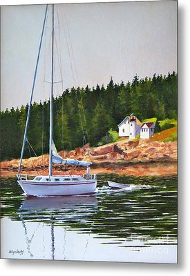 Metal Print featuring the painting Bass Harbor Light by Karol Wyckoff