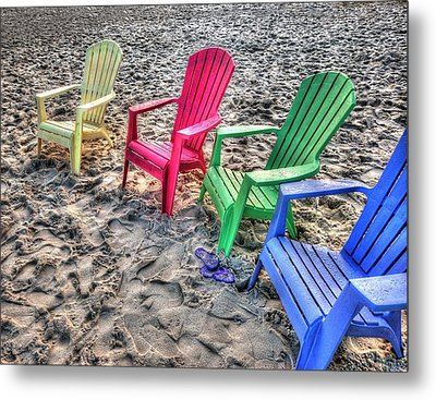 Metal Print featuring the digital art 4 Beach Chairs by Michael Thomas