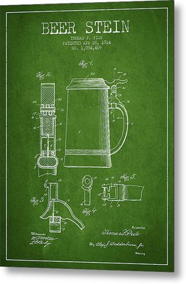 Beer Stein Patent From 1914 - Green Metal Print by Aged Pixel