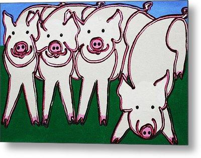 4 Beige Pigs Metal Print by Matthew Brzostoski