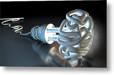 Brain Flourescent Light Bulb Metal Print by Allan Swart