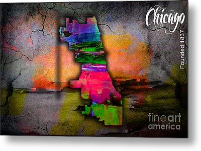 Chicago Map Watercolor Metal Print by Marvin Blaine