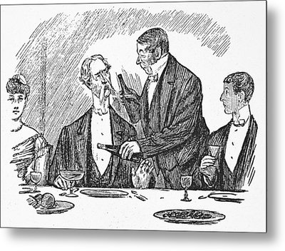 Dining, 19th Century Metal Print by Granger