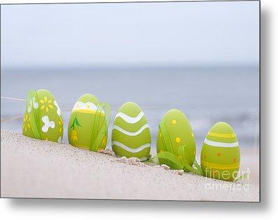 Easter Decorated Eggs On Sand Metal Print by Michal Bednarek