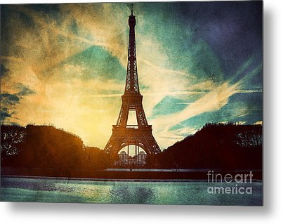 Eiffel Tower In Paris Fance In Retro Style Metal Print by Michal Bednarek
