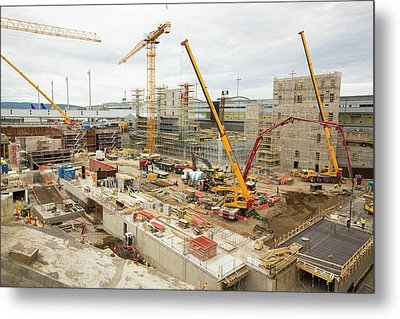 Expansion Work At Oslo Airport In Norway Metal Print by Ashley Cooper
