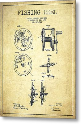 Fishing Reel Patent From 1896 Metal Print by Aged Pixel