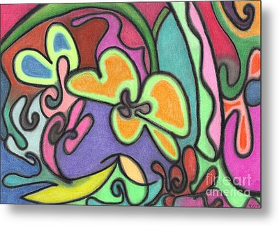 Fluid Flowers Metal Print by Christine Perry