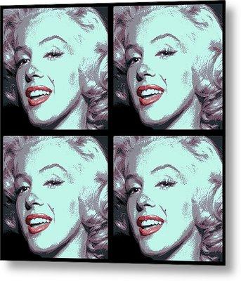 4 Frame Marilyn Pop Art Metal Print by Daniel Hagerman